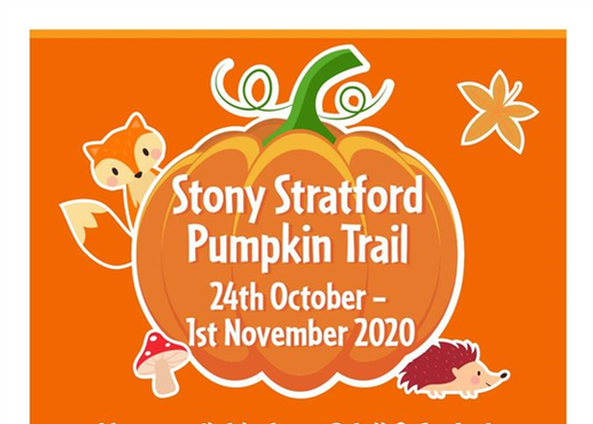 Stony Stratford pumpkin hunt poster cropped with pumpkin and cartoon animals