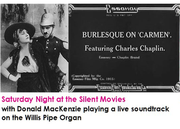 Saturday Night at the Silent movies advert with Charlie Chaplin picture