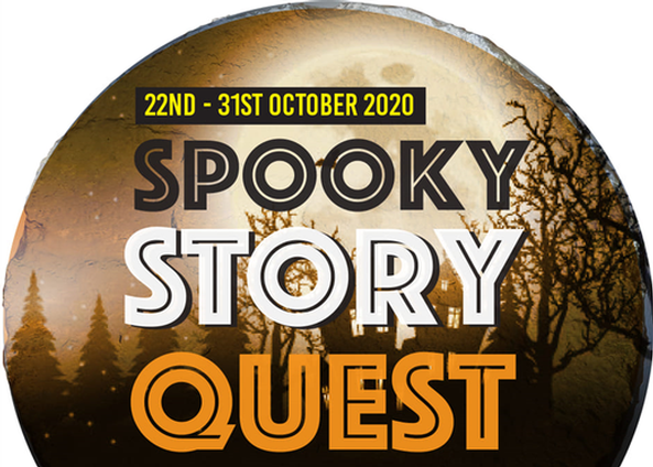 Spooky Story Quest advert. Picture of spooky brown trees and skies with writing detailing the name and dates of the event.