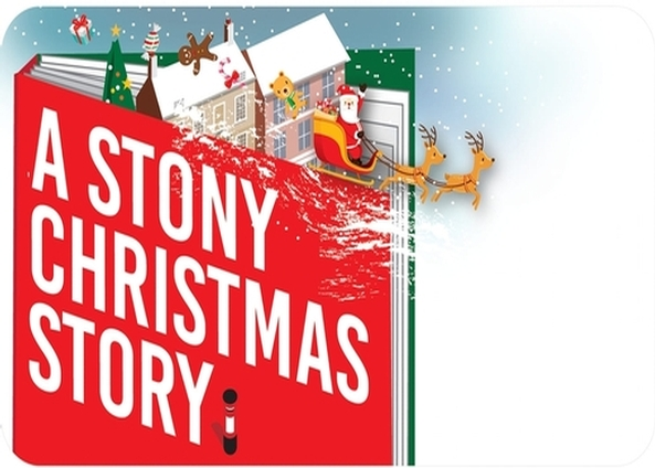A Stony Christmas Story cartoon storybook image showing a red story book with houses, Father Christmas in his sleigh and Christmas trees surrounded by snow
