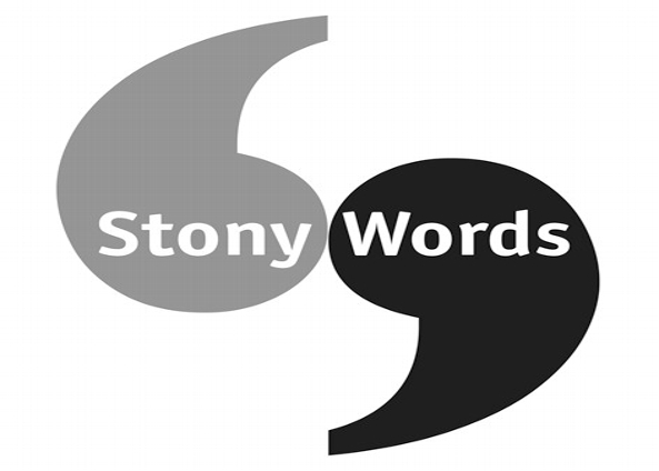 Stony Words event logo - black and grey speech marks with Stony Words written on.