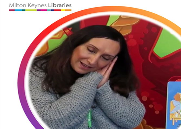 Photo showing Stony Stratford Librarian Harch doing an online Storytime on YouTube.