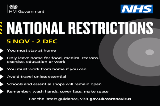 New National Restrictions for Lockdown 2: 5th November - 2nd December