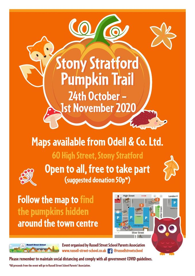 Poster for Stony Stratford Pumpkin Hunt with pumpkins and written details of the event
