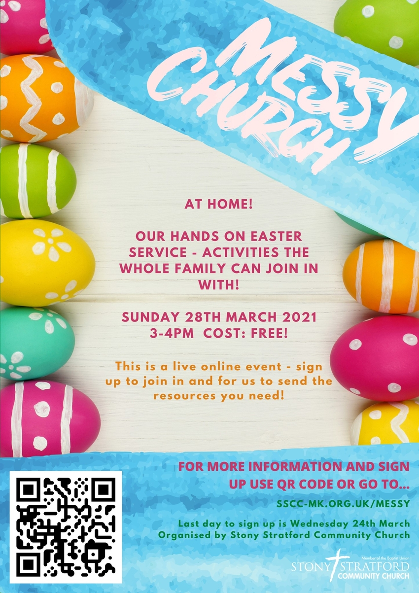Stony Stratford Community Church Easter Messy Play poster advertising the event and giving further details