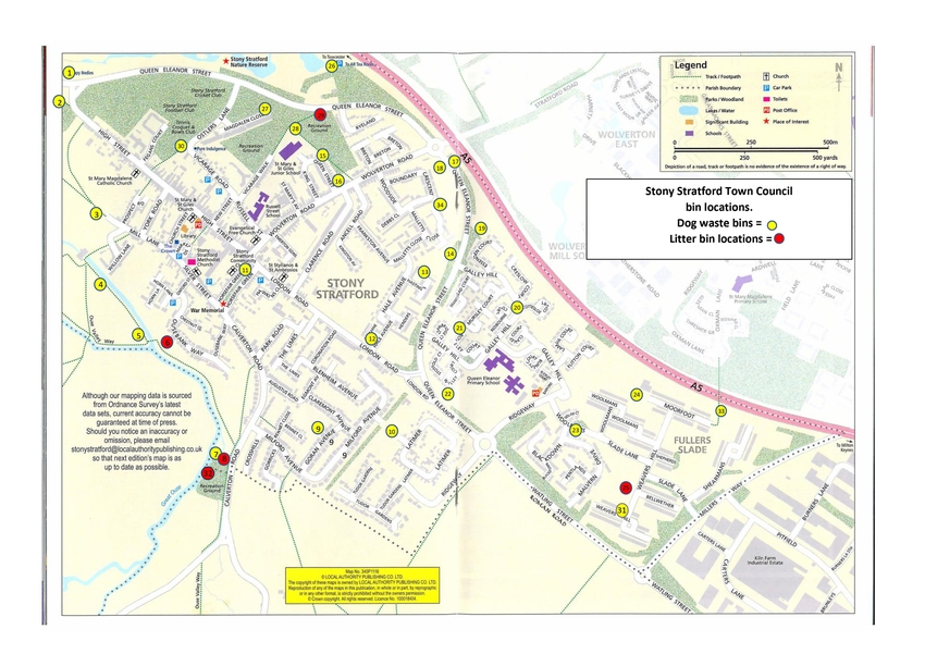 Map of Stony Stratford, Fullers Slade and Galley Hill showing the location of all of the Town Council dog bins
