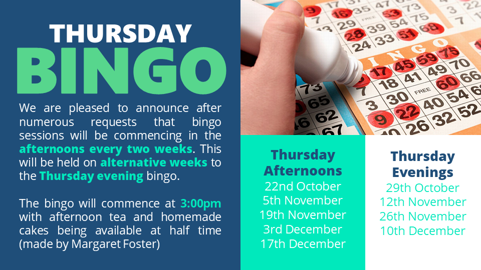 Stony Stratford Conservative Club advert for Thursday Bingo showing dates of the Bingo and Bingo card and dabber